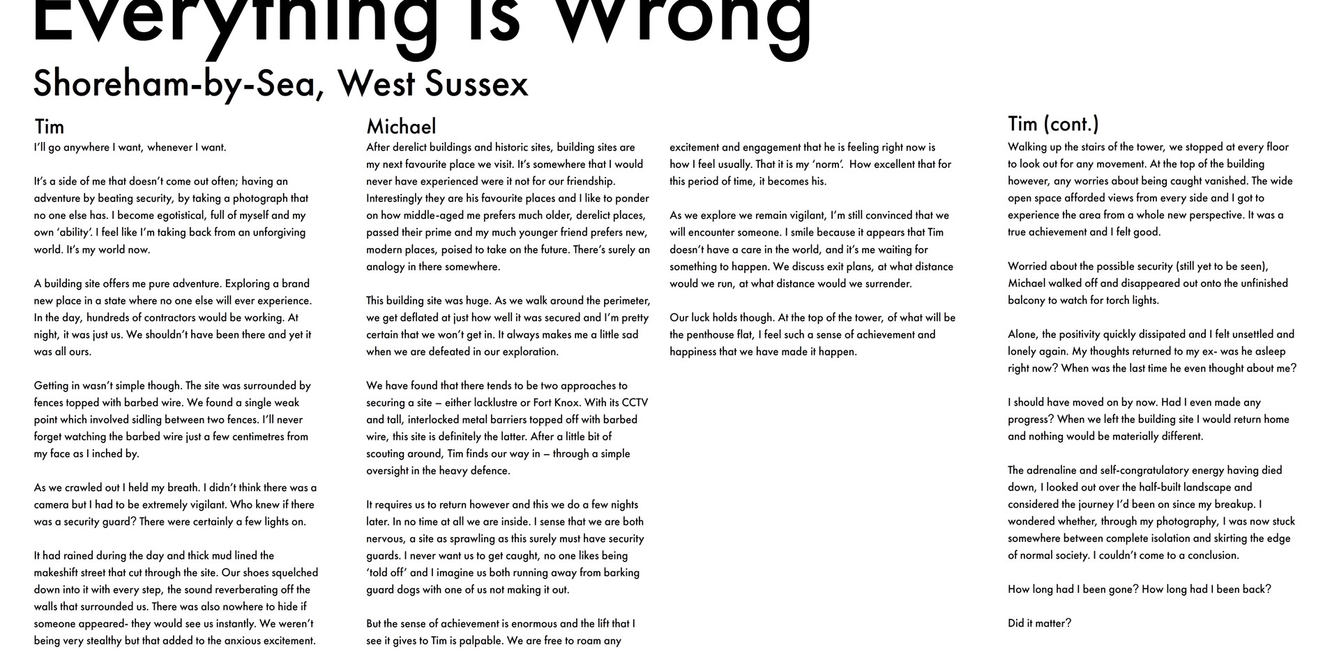 Everything Is Wrong Text
