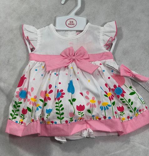Floral dress pink trim