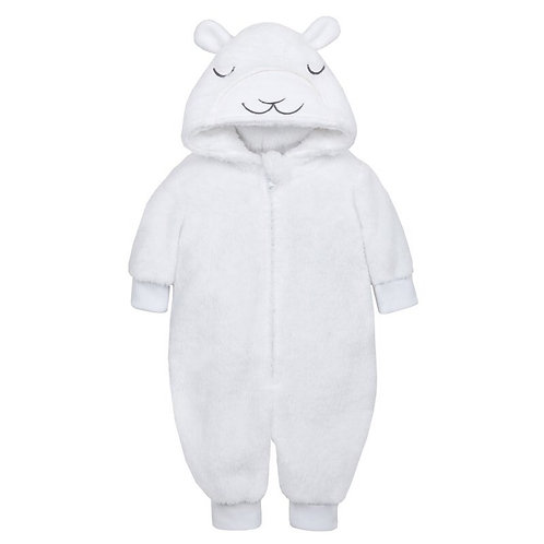 White lamb fleece onesie