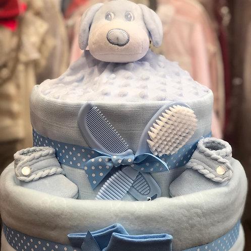 Blue Puppy Nappy Cake