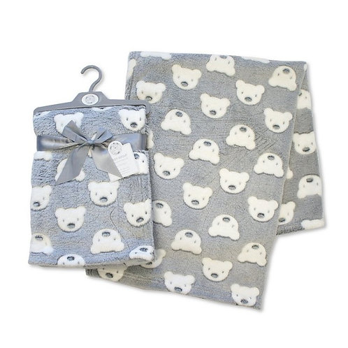 Grey and White soft Teddy blanket