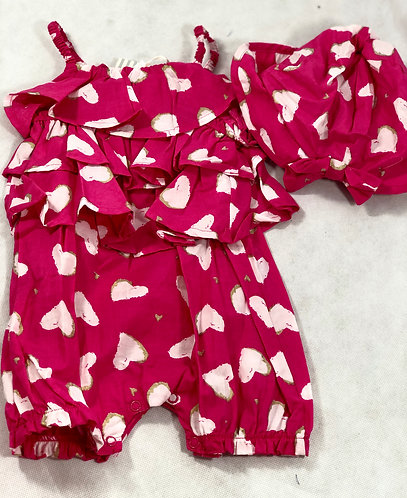 Cotton Playsuit Pink Hearts