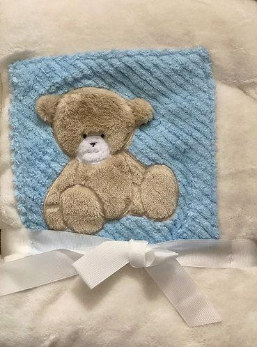 Cream & Blue Teddy Blanket