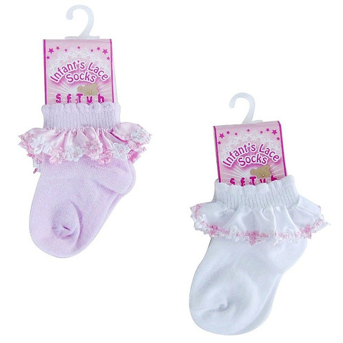 Lace & Flower Trim Socks