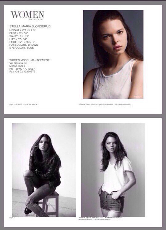 Stella-Maria signed with Women management in Milan.