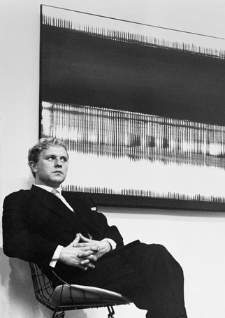 Heinz Mack in the Gallery Ad Libitum, Antwerp 1961, with Untitled, 1961, 111x131 cm, Private collection, Berlin.