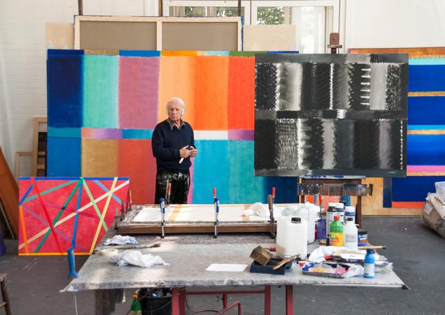Heinz Mack in his studio, 2013, Mönchengladbach, Germany