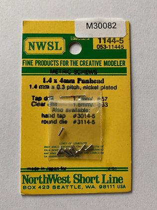 Panhead metric screws 1.4 x 4mm Nickel plated NWSL 1144-5