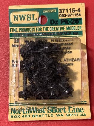 "NWSL - 37115-4  28"" Wheelset Brass Weathered  HO"