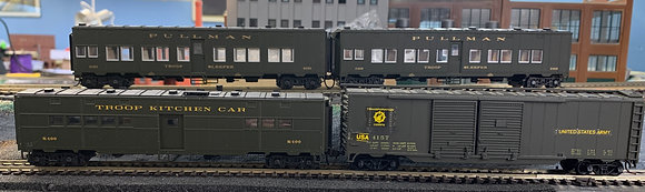 U S Army   -  Pullman Troop Kitchen, 2 x  Sleeper Cars & Box Car  -   HO