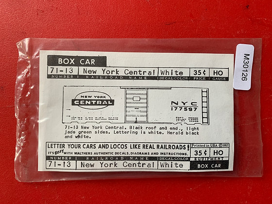 New York Central -  Box Car - Decals -Walthers