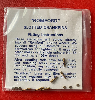 """ROMFORD"" Slotted Crankpins & Spacing Washers - HO Parts"