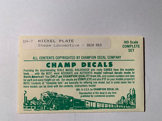 Nickle Plate Road - Steam Loco - Dulux Gold  - Champ  Decals HO EH-7