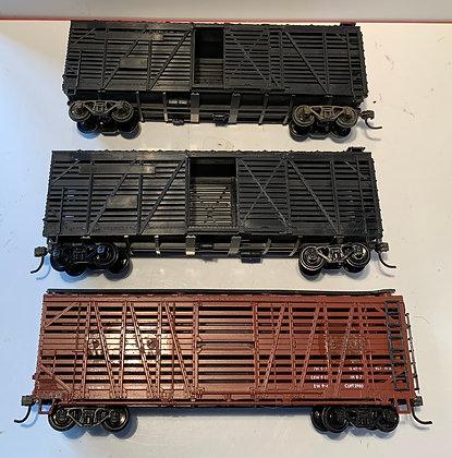 3 x Wooden Stock Cars - Plain - No Road Markings.  HO