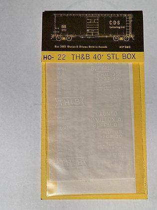 TH&B - 40ft Steel Box Car - CDS - Decals  HO22
