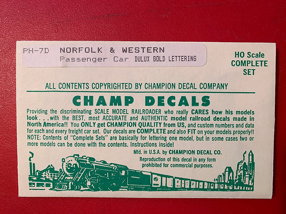 Norfolk & Western - Passenger Car - Dulux Gold  - PH-7D - Champ Decal  - HO