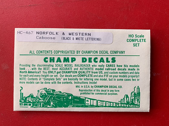 Norfolk & Western-  Caboose - HC 487 - Champ Decal  - HO
