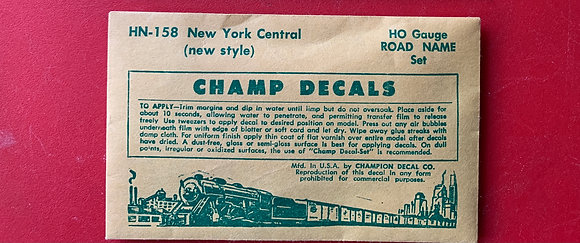New York Central -  Road Name Set- HN 158 - Champ Decals