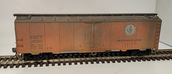"""MDT """"Early Bird Service"""" -  40ft Metal Refer Car - Weathered - HO"""