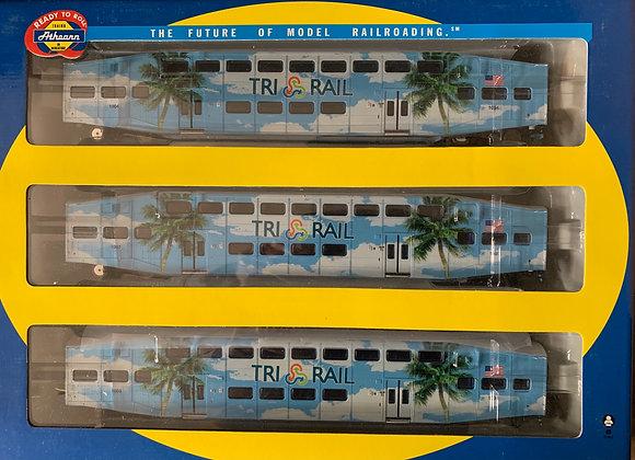 Florida - Tri Rail - Bi Level 3 Coach Car set & Loco - Athearn HO