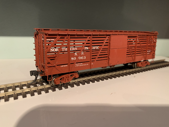 NORTHERN PACIFIC- 40ft Mather - Single Deck  Wooden Stock Car - HO