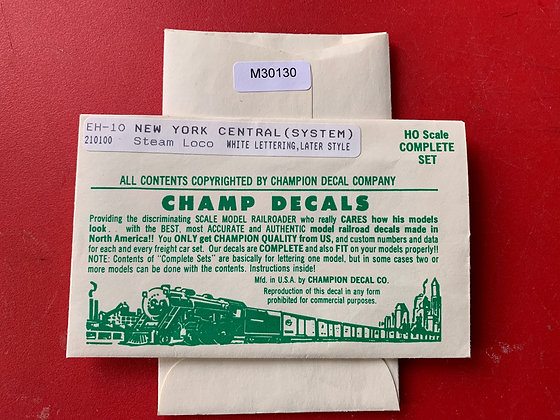 New York Central -  Steam Engine Later Style - EH-10 - Champ Decals