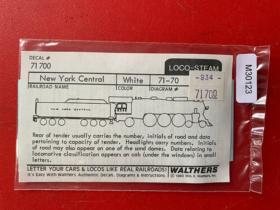 New York Central - Loco - Steam - Decals -Walthers
