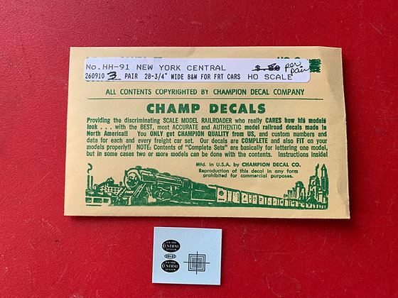New York Central -  Freight Car Oval - HH-91 - Champ Decals