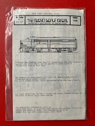 New York Central - Diesel Cabs Units - Decals - Micro Scale