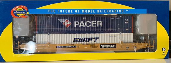 TTX 56' Well Car c/w 2 x 53' Containers PACER+ Swift - Athearn  92878