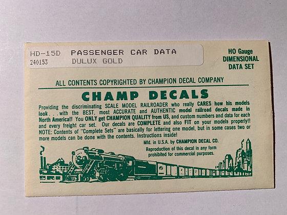 Passenger Car Data - Dulux Gold  - Champ  Decals HO HD-15D