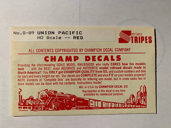 Union Pacific - RED - Stripes  - Champ  Decals HO S-89