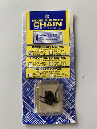 "Model Builders Chain - 40 links per inch Black 18"" - HO"
