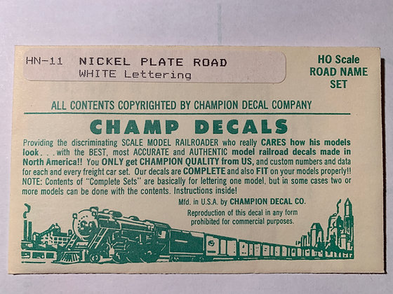 Nickle Plate Road - Road Name Set - White  - Champ  Decals HO NH-11
