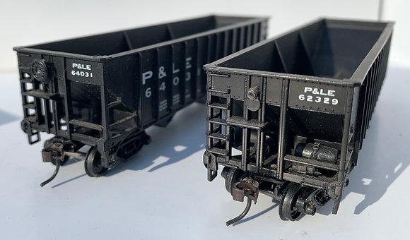 2 x PITTSBURGH &  LAKE ERIE - 3 Bay Hopper Car - HO