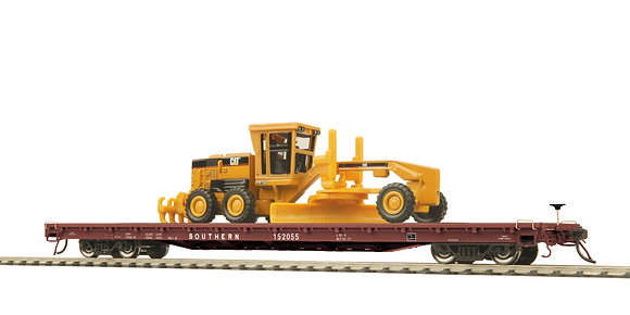 Southern Pacific 60' Flat with CAT 163H Grader  MTH 80-98022  NIB - HO