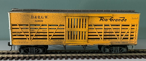 D&RGW - 36ft Wooden Stock Car - Weathered - HO