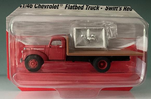 Swift Red - Chevrolet  1 1/2 ton Flatbed Truck - Mini Metals