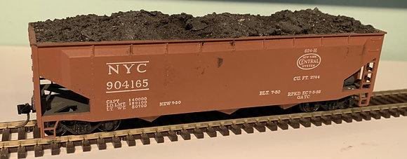 NEW YORK CENTRAL - 3 Bay Steel Hopper Car - Real Coal Load - HO
