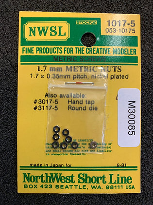 Metric nuts 1.7 x 0.35mm pitch Nickel plated NWSL 1017-5