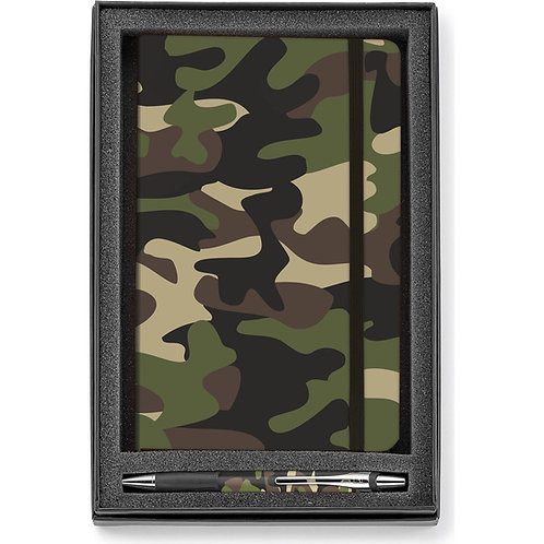 LM7224 Camouflage Hard Cover Journal with Pen Gift Set