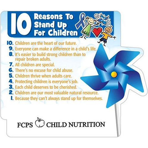 LM5486 10 Reasons Child Abuse Prevention Pinwheel Magnet