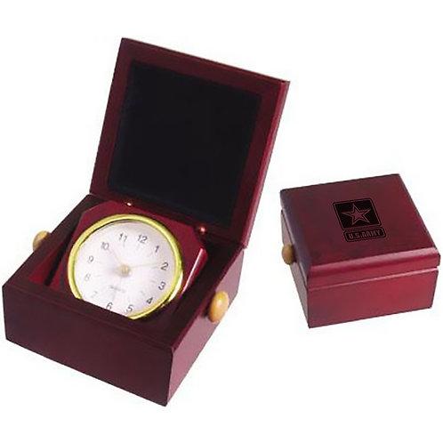 LM34520 Square rosewood finish clock in desk box