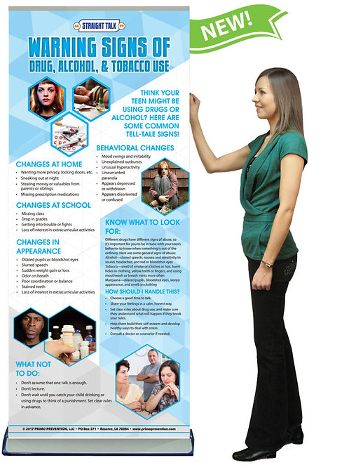 WARNING SIGNS OF DRUG, ALCOHOL & TOBACCO ABUSE PRESENTATION BANNER W/STAND