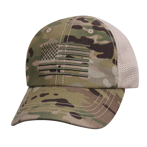 LM7829 Multicam Tactical Mesh Back Cap With Embroidered US Flag