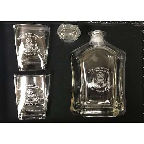 LM2180 3 piece Glass Drinkware Set-- Includes Decanter and 2 Glasses