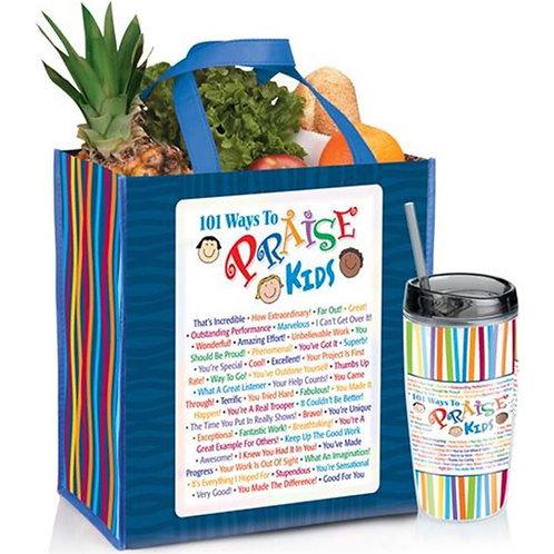LM5497 101 Ways To Praise Kids Tote Bag and Tumbler Bundle