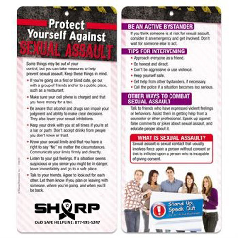 LM00151 Protect Yourself Against Sexual Assault 2-sided glancer
