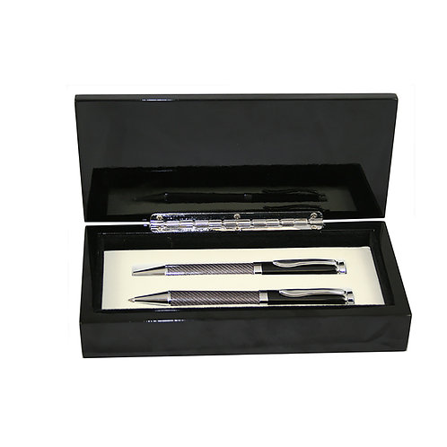 LM34514 Black Glass Fiber Finish Ball Pen and Pencil Set