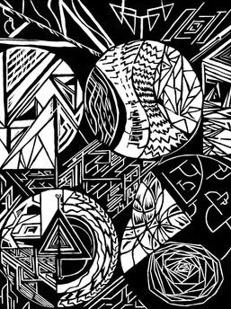 Abstract Wood Cut Print